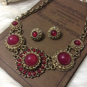 Vintage Chunky Gold Red Necklace Matching Earrings